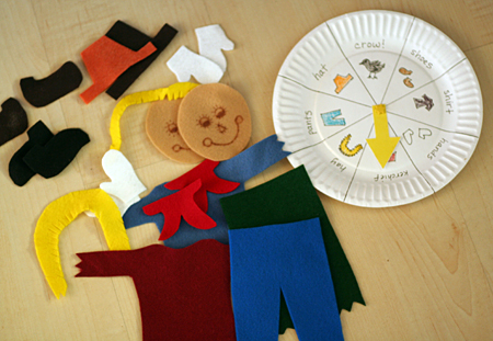 To extend the felt play even more I created a simple game with a paper plate spinner. Each player starts by putting a scarecrow face on the felt board. & Scarecrow Felt Board + Game - Let\u0027s Explore