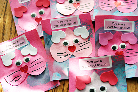 Delaney made some sweet and simple kitty Valentines for her preschool