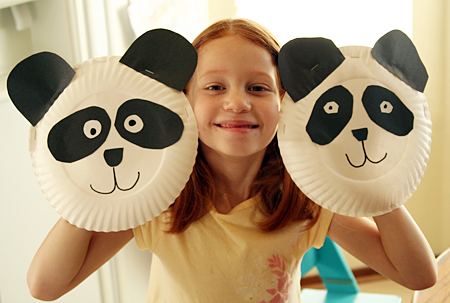 The girls were able to easily draw and cut ovals for the black eye patches and \u201cD\u201d shapes for the ears and noses. To make the pandas into puppets ...  sc 1 st  Let\u0027s Explore & Paper Plate Panda Puppets - Let\u0027s Explore