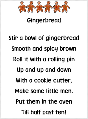 Gingerbread Poem printable
