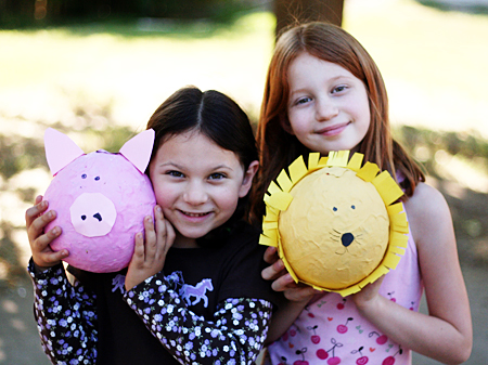 making papier mache pinatas with kids