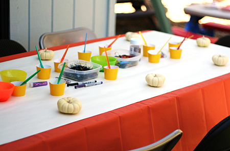pumpkin painting - party activity station