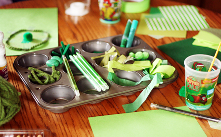 green collage for kids