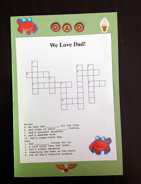 Father's Day Crossword Puzzle Card