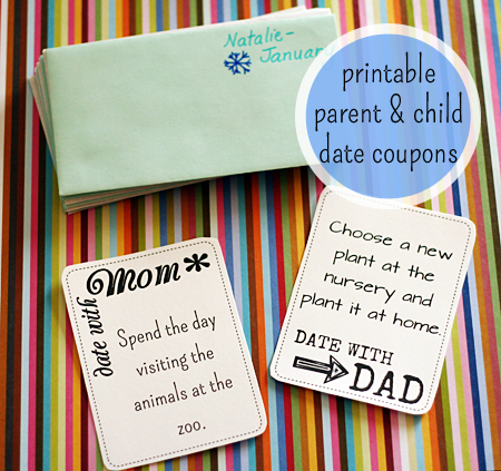 A Year of Dates: Printable Parent/Child Date Coupons from Let's Explore
