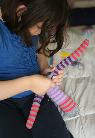 Sewing a sock monkey with kids