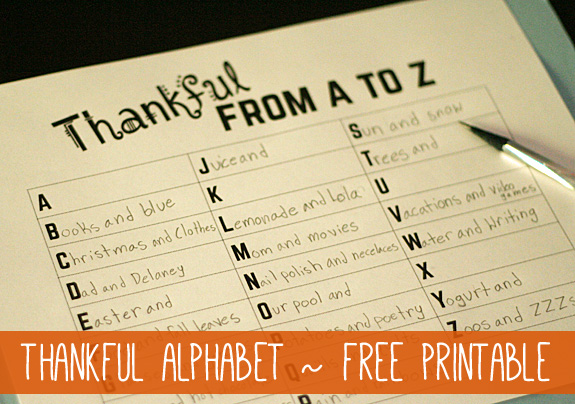 Thankful from A to Z {Free Printable} | Let's Explore
