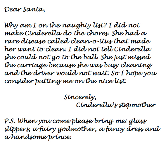 Letter to Santa from Cinderella's stepmother